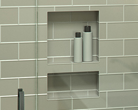 shower elements, niches, benches, curb overlays, solid curbs