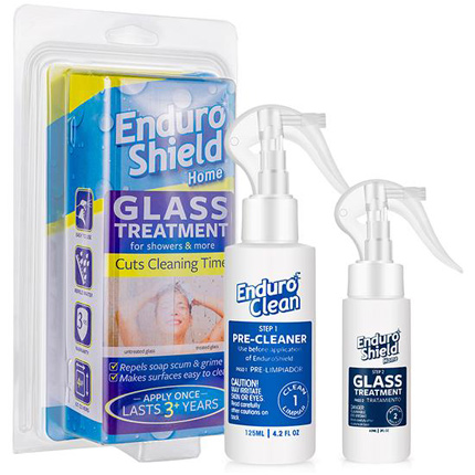 repels fingerprints, reduce grim, keep shower doors clean, do it yourself shower glass treatment, glass surface treatment, EnduroShield glass treatment, hassle free cleaning, bathroom cleaning, shower door glass sealer, glass cleaner, protect glass, protect glass against staining, prevent glass etching, EnduroShield glass treatment, Model BESGLC20D